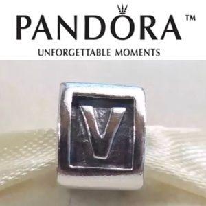 "Retired Pandora block initial charm ""V"""